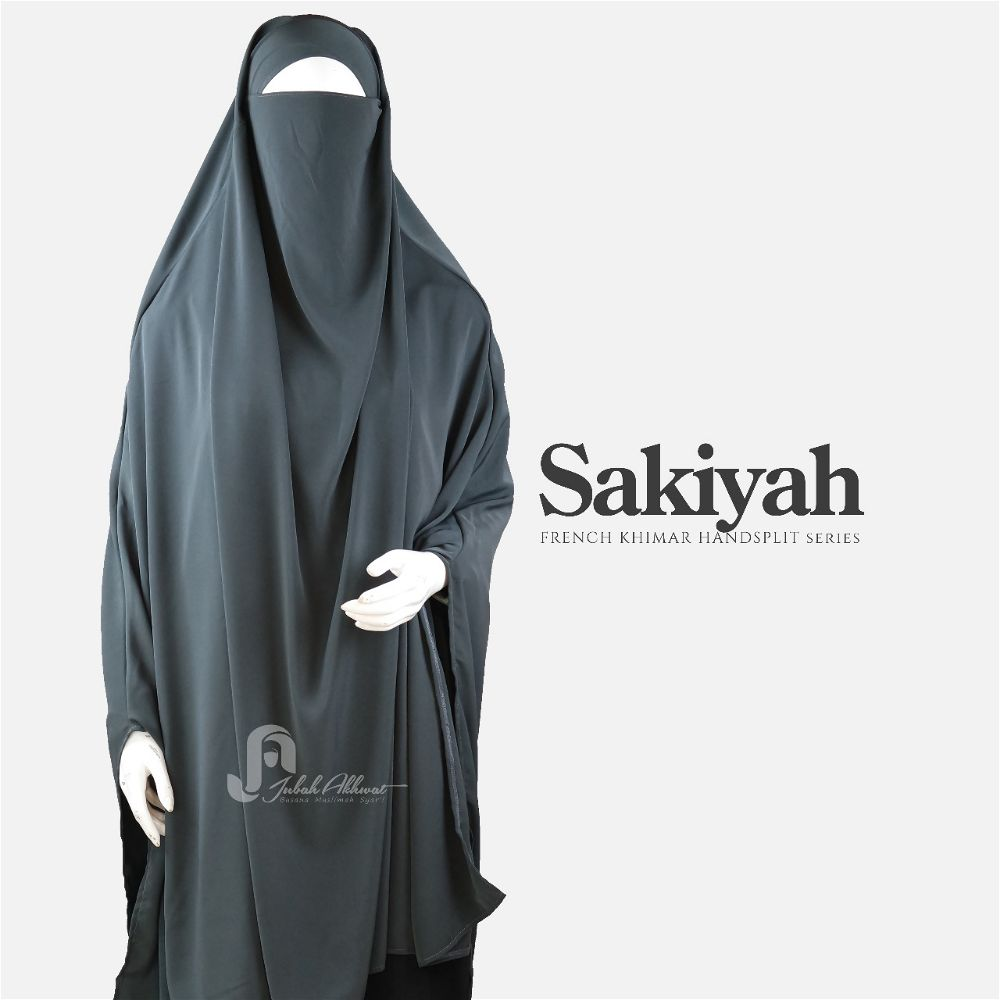 French khimar basic warna abu tua