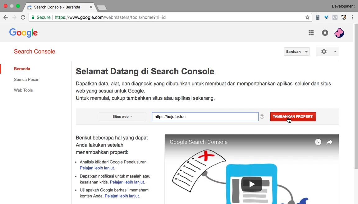 Pendaftaran website ke Google Search Console