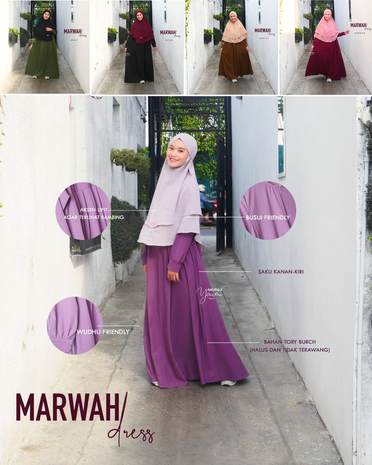 Gamis Syari Daily: Marwah Dress by Naisha