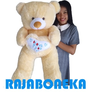 Boneka Beruang Teddy Bear Besar Jumbo Love 90-95cm cream